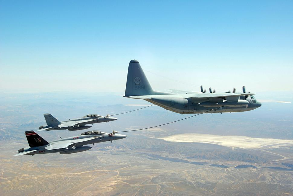 F-18Fs VX-31 refueling from VX-30 KC-130F 2009